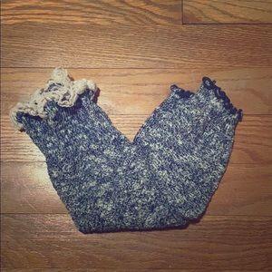 Navy / White Ruffle Boot Socks / Leg Warmers